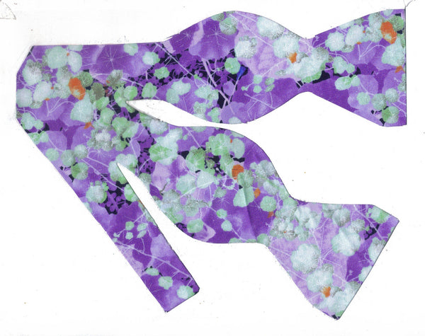 LAVENDER FIELD BOW TIE - PURPLE VIOLETS WITH MINT GREEN LEAVES - Bow Tie Expressions