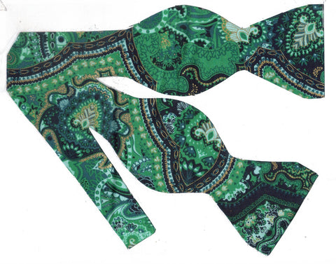 Green Paisley Bow Tie / Emerald Green Paisley / Metallic Gold / Self-tie & Pre-tied Bow tie - Bow Tie Expressions