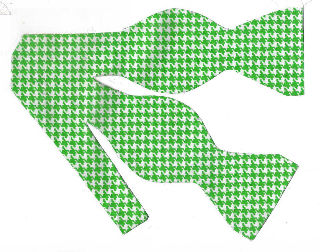 Green & White Houndstooth Bow Tie