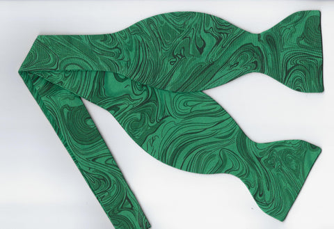 Green Bow tie / Abstract Marble Design / Self-tie & Pre-tied Bow tie