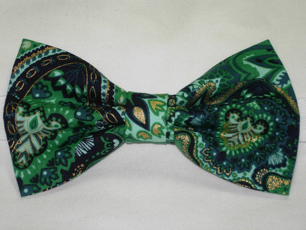 Emerald Green Dog Collar / Green Paisley with Metallic Gold Pet Collar / Matching Dog Bow tie - Bow Tie Expressions