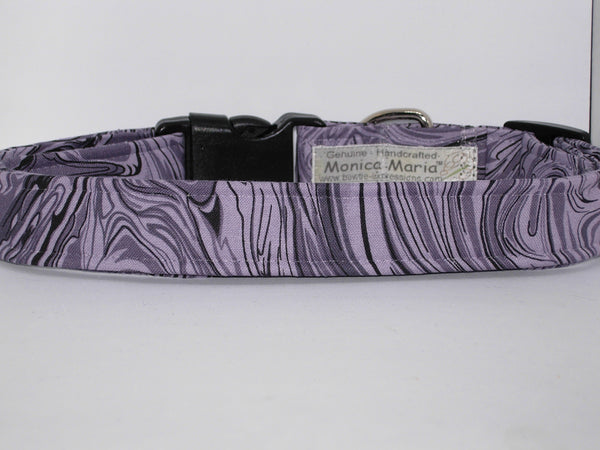 Grey Marble Dog Collar / Shades of Gray in a Marble Design / Matching Dog Bow tie - Bow Tie Expressions