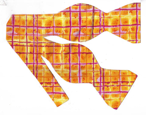 NEON ORANGE GRID PLAID BOW TIE - BRIGHT CHEDDAR ORANGE, YELLOW & PURPLE - Bow Tie Expressions