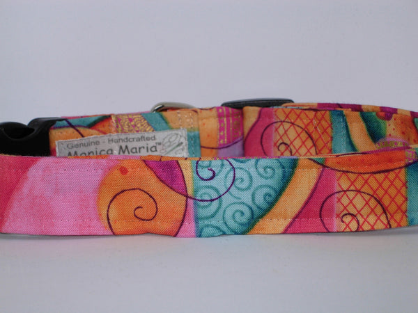 Whimsical Dog Collar / Peach, Teal, Pink & Orange / Metallic Gold / Matching Dog Bow tie - Bow Tie Expressions
