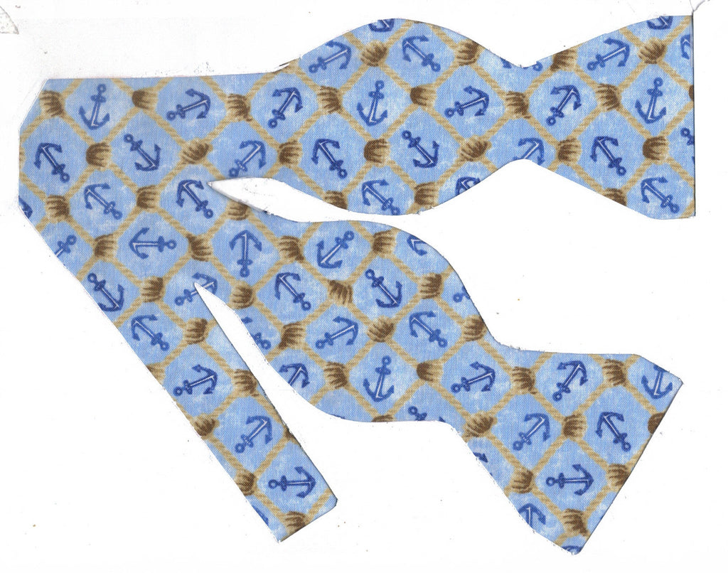 Nautical Bow tie / Blue Anchors & Ropes on Blue / Cruise Bow tie / Self-tie & Pre-tied Bow tie - Bow Tie Expressions