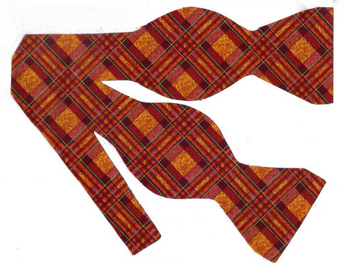 AUTUMN HARVEST PLAID BOW TIE - SHADES OF ORANGE - Bow Tie Expressions