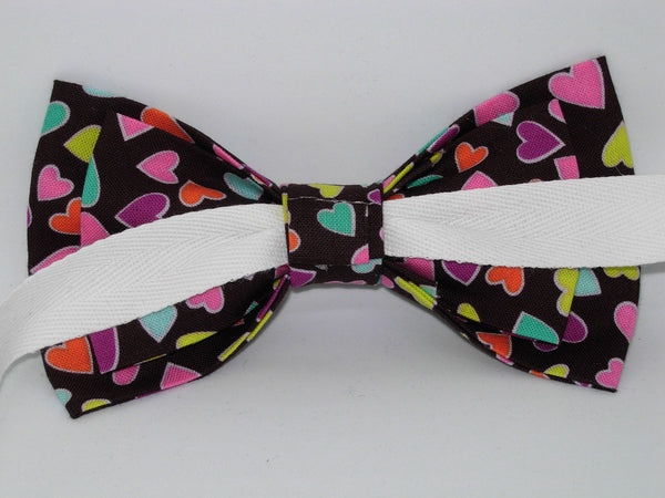 Colorful Valentine Hearts Bow tie / Mini Hearts on Chocolate Brown / Self-tie & Pre-tied Bow tie - Bow Tie Expressions