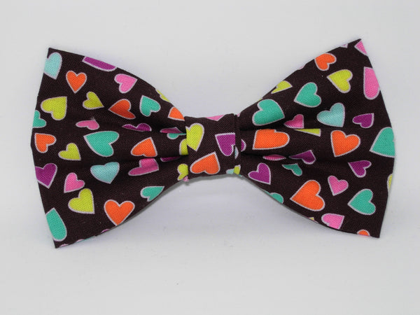 Colorful Valentine Hearts Pre-tied Bow tie - Mini Hearts on Chocolate Brown