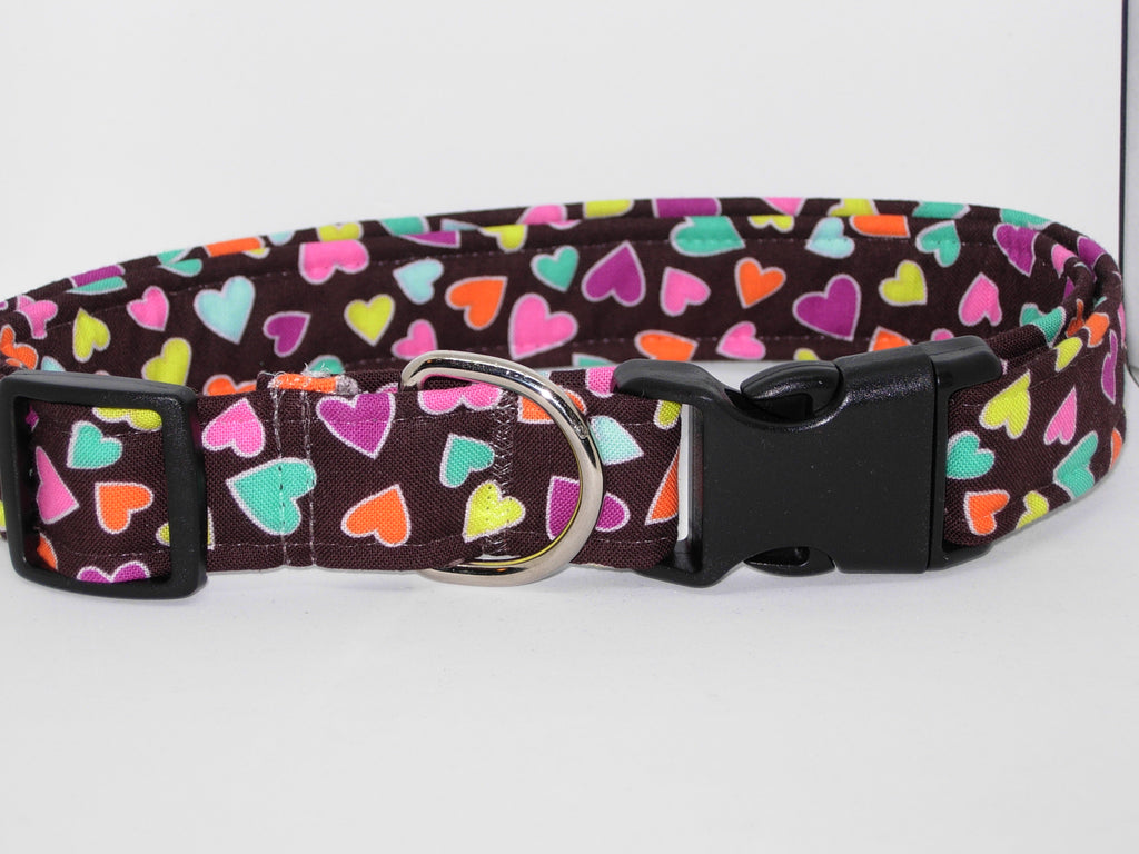 Sweetheart Dog Collar / Colorful Mini Hearts on Brown / Matching Dog Bow tie - Bow Tie Expressions