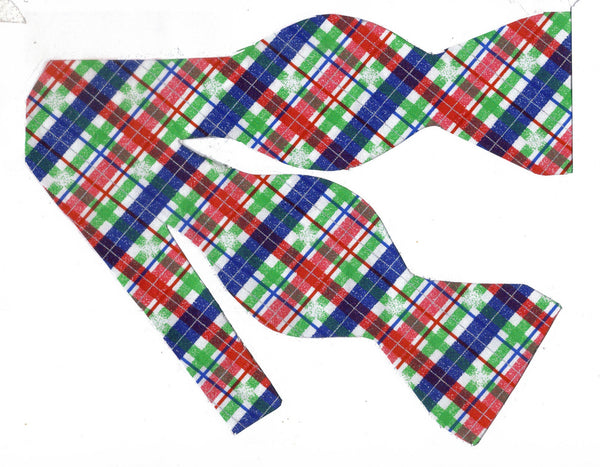 SNOWY CHRISTMAS PLAID BOW TIE - RED, GREEN, BLUE & WHITE PLAID - Bow Tie Expressions  - 1