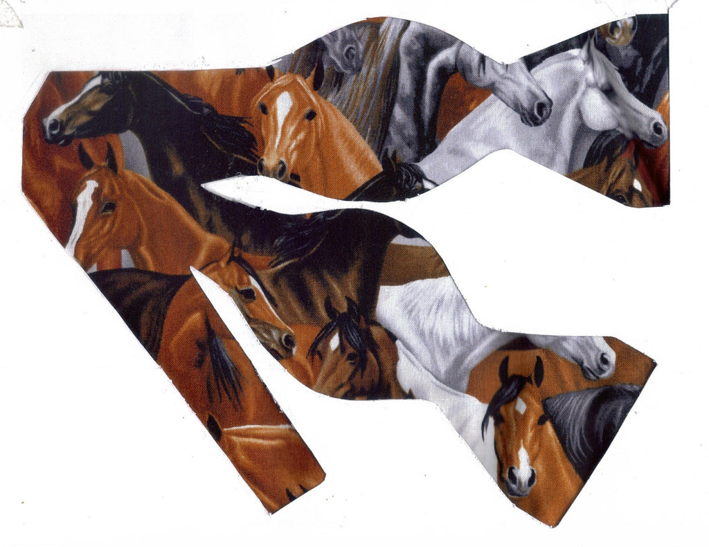 MAJESTIC HORSES BOW TIE - BLACK, BROWN, RED, & WHITE PACKED HORSES - Bow Tie Expressions