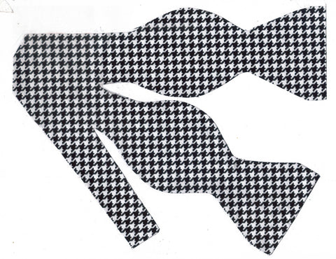"Houndstooth Bow tie / Black & White Houndstooth (1/4"") Self-tie & Pre-tied Bow tie"