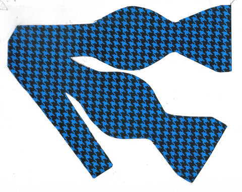 Houndstooth Bow tie / Bright Blue & Black Houndstooth / Self-tie & Pre-tied Bow tie - Bow Tie Expressions