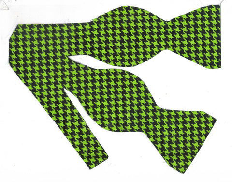 Houndstooth Bow tie / Bright Green & Black Houndstooth / Self-tie & Pre-tied Bow tie - Bow Tie Expressions
