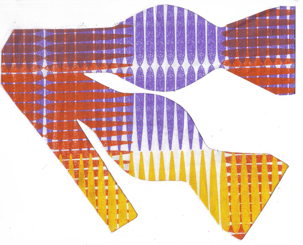 PURPLE PLAID IMPRESSIONS BOW TIE - PURPLE, ORANGE, YELLOW & WHITE - Bow Tie Expressions