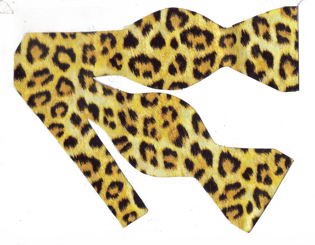 JAGUAR SPOTS ON YELLOW GOLD BOW TIE  - RUNNING WILD! - Bow Tie Expressions