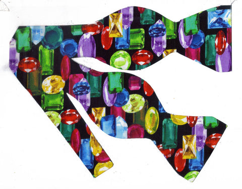 DAZZLING JEWELS BOW TIE - COLORFUL GEM STONES ON BLACK - Bow Tie Expressions  - 1