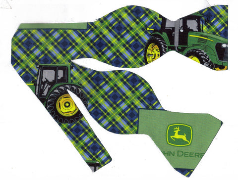 JOHN DEERE TRACTORS & LOGOS ON A BLUE & GREEN DIAGONAL PLAID BOW TIE - Bow Tie Expressions  - 1