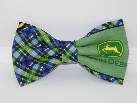 John Deere Bow tie / JD Logos with Blue & Green Plaid / Pre-tied Bow tie