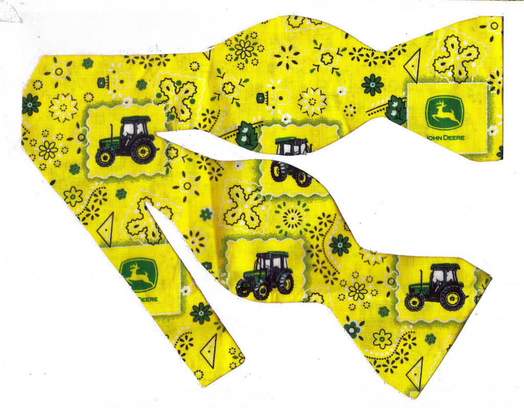 John Deere Bow tie / Tractors & Logos on Yellow Bandana / Self-tie & Pre-tied Bow tie - Bow Tie Expressions