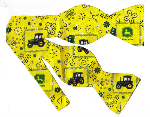 JOHN DEERE TRACTORS & LOGOS ON YELLOW BANDANA BOW TIE - Bow Tie Expressions
