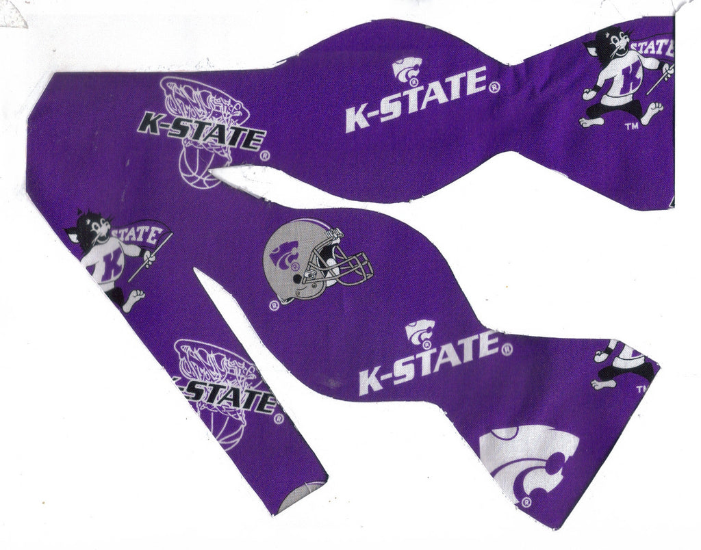 KANSAS STATE BOW TIE (ICONS ON ROYAL PURPLE) Willie the Wildcat - Bow Tie Expressions