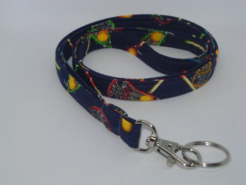 Lacrosse Lanyard / Lacrosse Sticks & Balls on Navy Blue / Coach Lanyard, Key Fob, Key Chain, Cell Phone Wristlet - Bow Tie Expressions