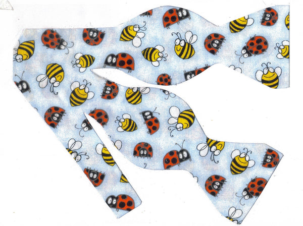 Garden Friends Bow Tie / Yellow Bees & Red Ladybuds on Light Blue / Self-tie & Pre-tied Bow tie - Bow Tie Expressions