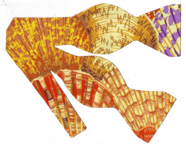 PAINTED SCALLOP SHELLS BOW TIE - PURPLE, RED, YELLOW, PEACH & GOLD - Bow Tie Expressions  - 1