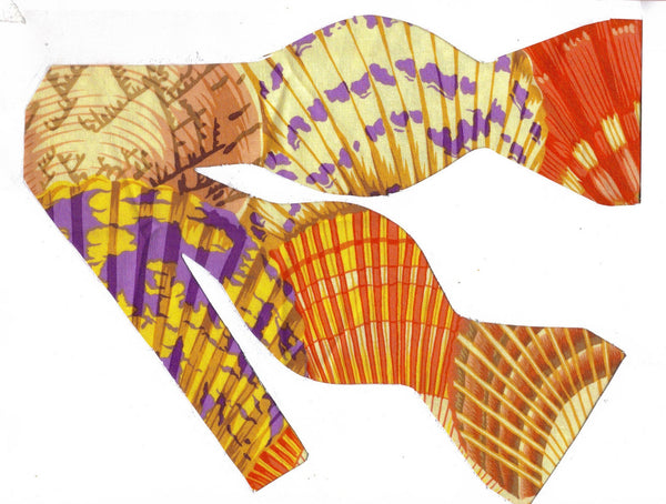 PAINTED SCALLOP SHELLS BOW TIE - PURPLE, RED, YELLOW, PEACH & GOLD - Bow Tie Expressions  - 2