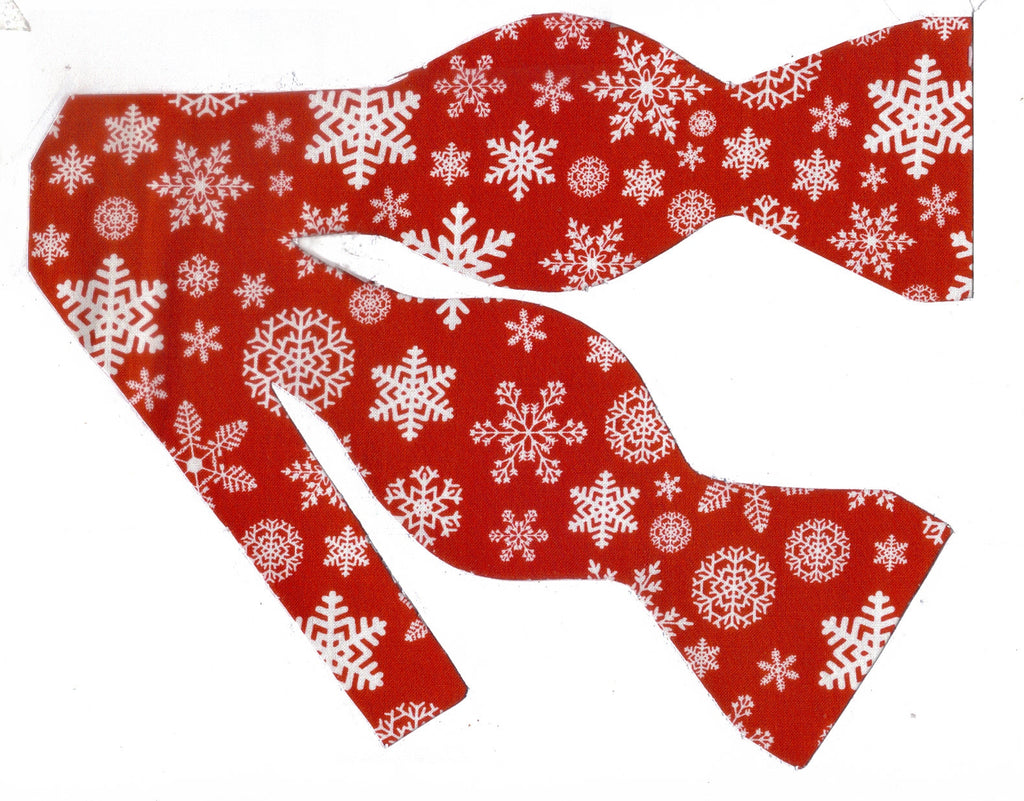 christmas bow tie white snowflakes on red self tie pre tied