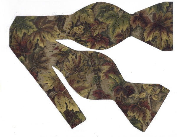 FOREST FLOOR CAMO BOW TIE - GREEN & BROWN LEAVES WITH TREE TRUNKS - Bow Tie Expressions