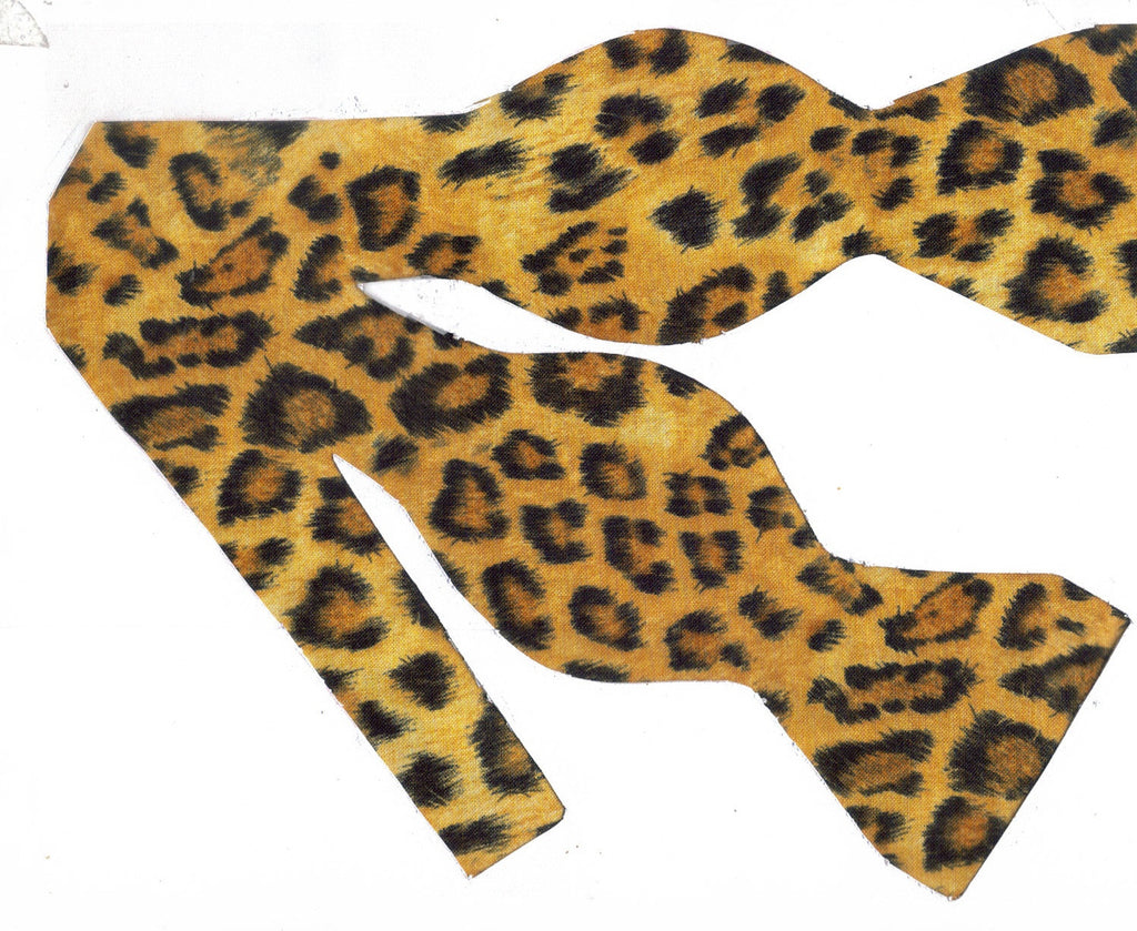 Leopard Print Bow tie / Black & Brown Leopard Spots on Gold / Self-tie & Pre-tied Bow tie - Bow Tie Expressions