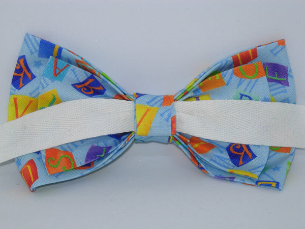 Alphabet Bow tie / Letter Tiles on Blue / Teacher Bow tie / Self-tie & Pre-tied Bow tie - Bow Tie Expressions