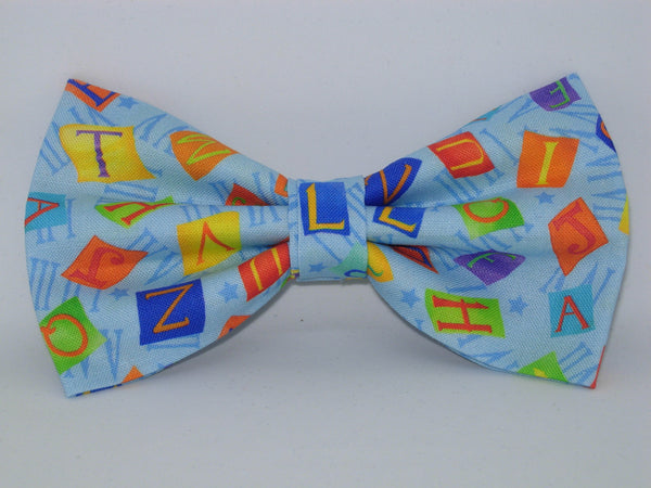 Alphabet Bow tie / Letter Tiles on Blue / Teacher Bow tie / Pre-tied Bow tie - Bow Tie Expressions