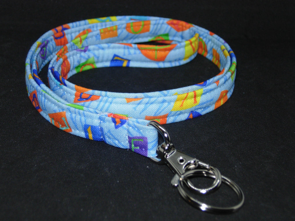 Teacher Lanyard / Letter Tiles on Light Blue / Back to School / Key Chain, Key Fob, Cell Phone Wristlet - Bow Tie Expressions