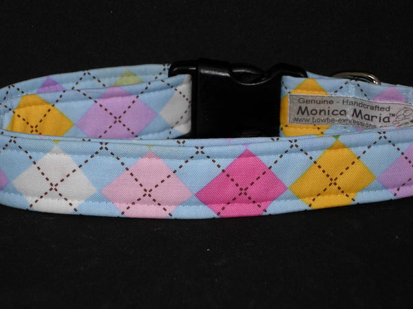 Spring Dog Collar / Pastel Argyle / Pink, Blue, Yellow & White / Matching Dog Bow tie - Bow Tie Expressions