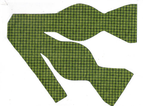 SHADES OF GREEN CLASSIC HOUNDSTOOTH BOW TIE - Bow Tie Expressions