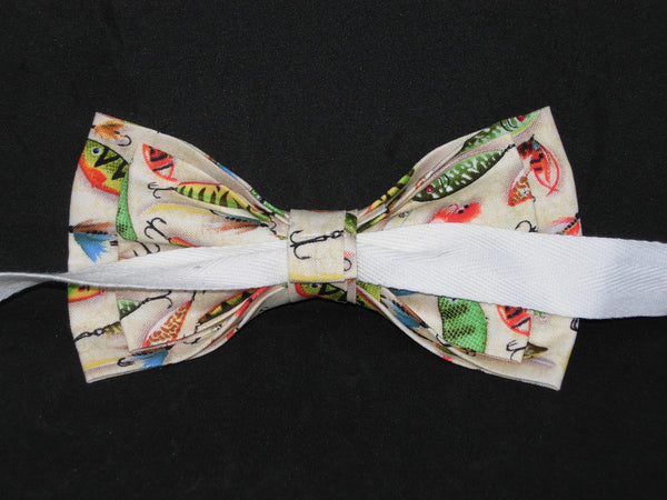 Fishing Bow tie / Colorful Fishing Lures on Beige / Self-tie & Pre-tied Bow tie - Bow Tie Expressions