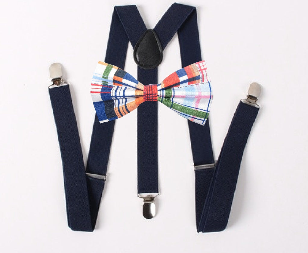 Nautical Plaid Bow Tie & Suspender Set - Navy Blue Suspenders - Mens LG/XL