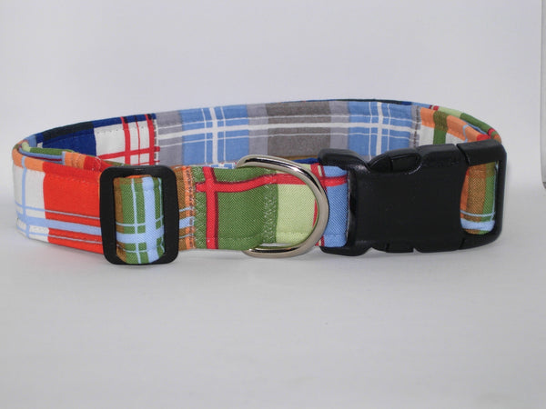 Madras Plaid Dog Collar / Patchwork Plaid / Nautical Blue & Red / Matching Dog Bow tie