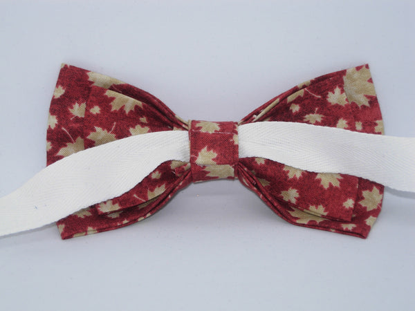 Maple Leaf Bow tie / Tan Leaves on Dark Red / Canada Day / Self-tie & Pre-tied Bow tie - Bow Tie Expressions