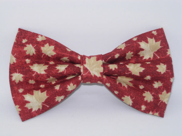 Maple Leaf Bow tie / Tan Leaves on Dark Red / Canada Day / Pre-tied Bow tie - Bow Tie Expressions