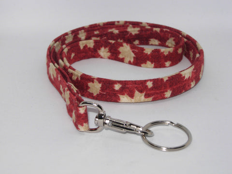 Maple Leaf Lanyard / Tan Leaves on Dark Red / Canada Day / Key Chain, Key Fob, Cell Phone Wristlet - Bow Tie Expressions