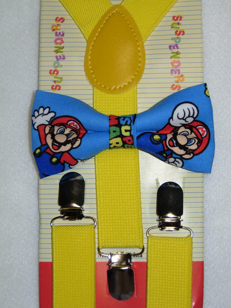 Super Mario Bow tie & Suspenders / Red, Blue or Yellow / Boys 6mo to 6yrs