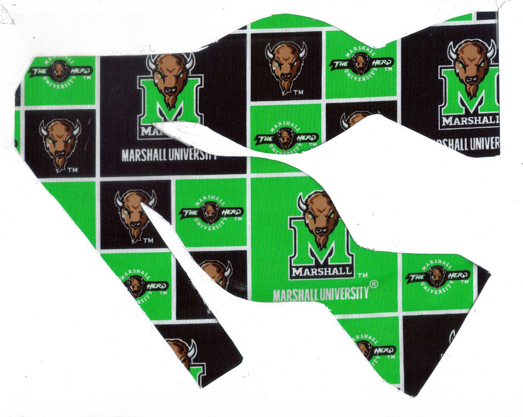 "MARSHALL UNIVERSITY ""MARCO"" THE THUNDERING HERD BOW TIE (LIGHTER GREEN BLOCKS) - Bow Tie Expressions"