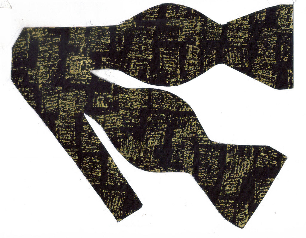Gold & Black Bow tie / Abstract Metallic Gold on Black / Self-tie & Pre-tied Bow tie - Bow Tie Expressions