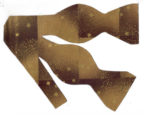 Metallic Gold Brown Weave Bow Tie - Bow Tie Expressions