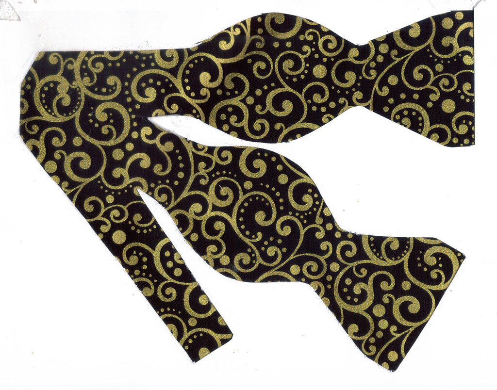 METALLIC GOLD DOTS & CURLS ON BLACK BOW TIE - A TOUCH OF ELEGANCE! - Bow Tie Expressions  - 1