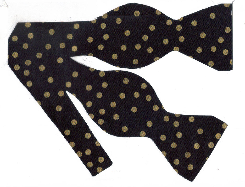 Gold & Black Bow tie / Metallic Gold Polka Dots on Black / Self-tie & Pre-tied Bow tie - Bow Tie Expressions